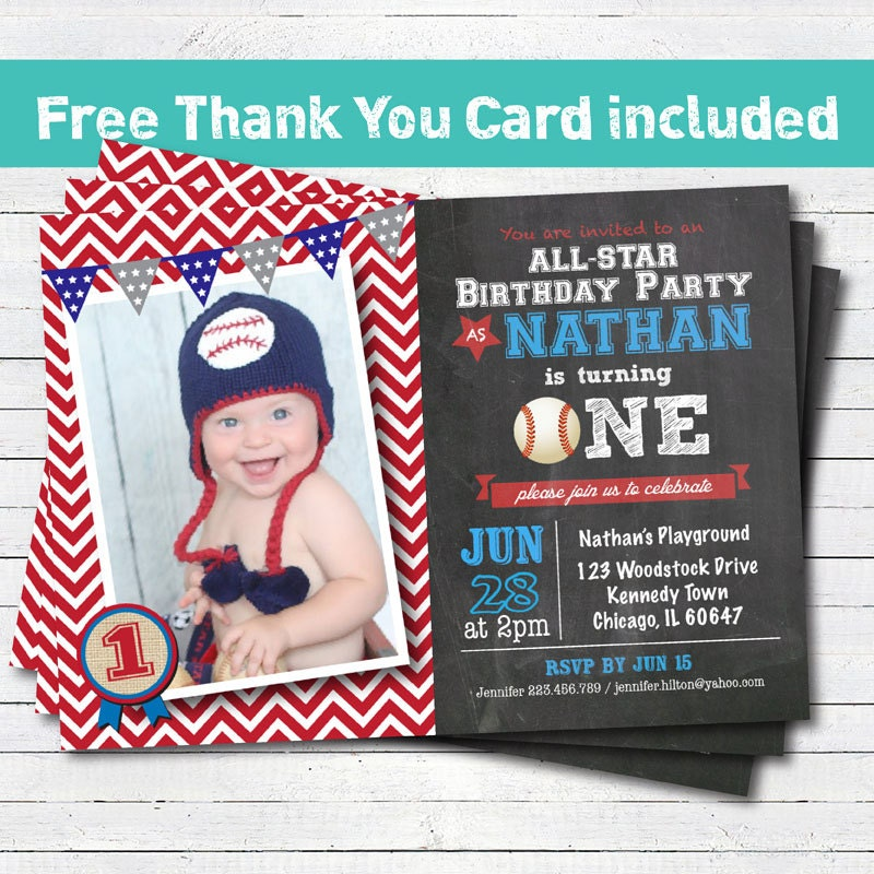 Baseball birthday invitation. Baby boy first 1st birthday
