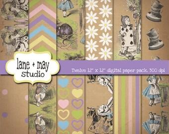 alice in wonderland patterns - vintage - digital scrapbook papers - INSTANT DOWNLOAD