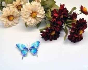 Butterfly cloisonne brooch#2 99.9% Silver