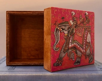 Decoupage Wood Jewelry Box/Trinket Box:  Hermes India