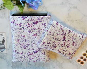 Purple Watercolor Floral Book Sleeve