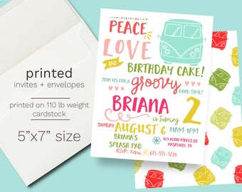 Hippie 70s Birthday Invitation PRINTED groovy birthday hippie van party invite tie dye birthday blast from the past