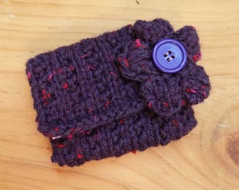 Purple Coin Purse, Knitted Change Purse Hand Knitted with Flower Decoration