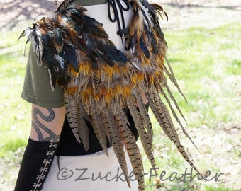 Natural Over the Shoulder Pheasant Feather Wings - WG50RN--N  Zucker Feather Place Original Designs - Premium Fantasy Feather Costume Wings