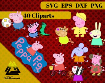 Peppa Pig Clipart – 40 (Svg, Eps, Png, Dxf Files) 300 PPI, Vectorial Images, Peppa Pig svg, T-Shirt Design, Peppa Pig Printable
