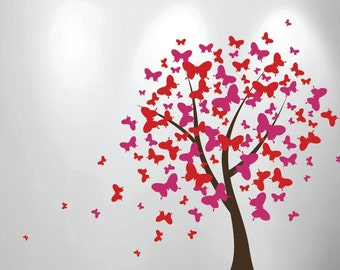 Large Wall Tree Baby Nursery Decal Butterfly Cherry Blossom 1140 (6 feet tall)