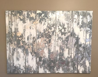 Grey Abstract Canvas Art, Silver Leaf Abstract Painting, Silver Leaf Art, Silver and Grey Painting, White and Silver Original Abstract