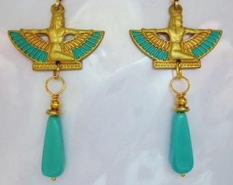 Egyptian earrings long turquoise Egyptian Revival earrings Art Deco Art Nouveau earrings vintage style 1920s 1930s Art Deco jewellery