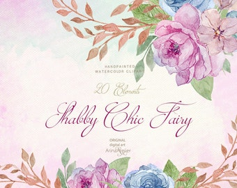 Shabby Chic Fairy WATERCOLOR Clipart - Shabby Flowers - Watercolor, DIY invites, Clip art, scrapbooking, wedding invitations, florals, tag