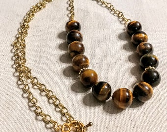 "31"" Necklace, 14 mm Round Yellow Tigereye, Golden Chain, Toggle Clasp"