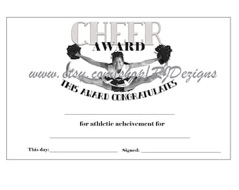 Cheerleading cheer leader award certificate cheer cheerleading cheer leader award certificate cheer award instant download printable item printable yadclub Images