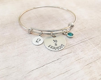 50th Birthday Gift for Women - Fifty and Fabulous Bracelet - 50th Birthday Gift - 50 and Fabulous