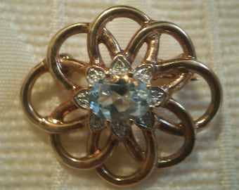 FREEPOST! Genuine aquamarine gold pinchbeck brooch