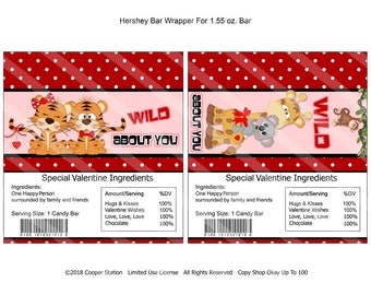 Printable Digital Valentine Hershey Candy Bar Wrappers- Tigers - Giraffe - Monkey
