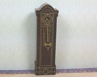 "STROMBECKER GRANDFATHER'S CLOCK, Mid 1940's, 3/4"" to 1"" Scale, Vintage Miniature Dollhouse Furniture"