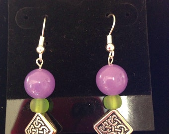 Purple green and silver dangles