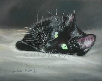 Black Cat Fine Art Print, Black Cat Decor, Black Cat Lover