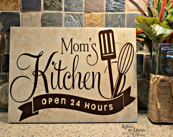 Gift for Mom, Moms Kithchen, Mom's Kitchen Sign, Mom Tile, Mothers Day Gift