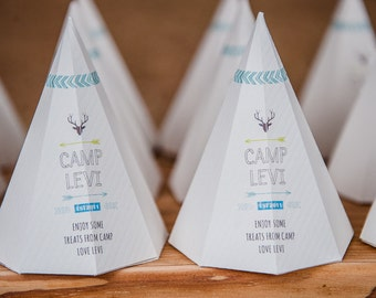 Camping / Camp Party / Arrow / Teepee Favour Box Design / Treat Box / DIY Modern Printable Party & Birthday Decor - Digital File