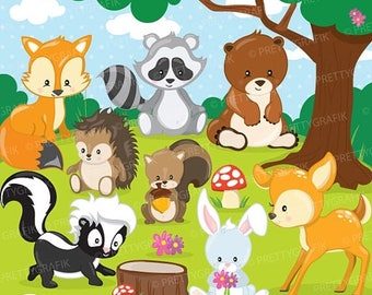 80% OFF SALE woodland animals clipart commercial use, vector graphics, digital clip art, digital images - CL807