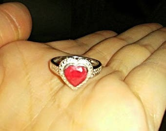 Free shipping USA Ruby heart sterling silver ring