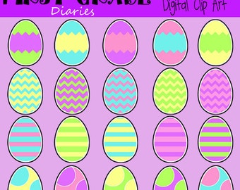 Colorful Easter Eggs and Baskets Digital Clip Art -- BUY 2, GET 1 FREE