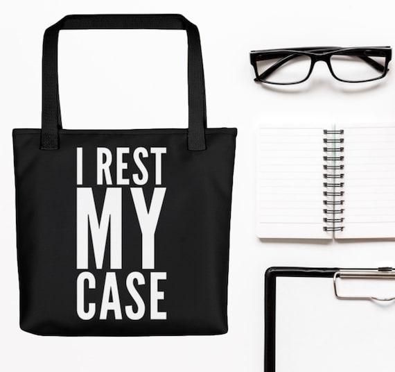 Gift for attorneys  I rest my case large black tote bag