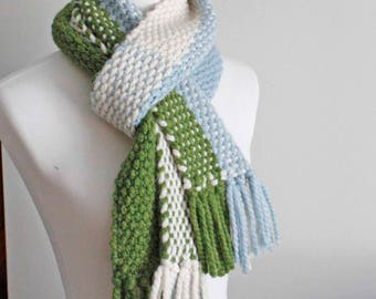 Chunky Scarf, Scarf, Woven Scarf, Blue Green Scarf, Color Blocked Scarf, Colorful Handwoven Scarf, Wool Scarf, Winter Scarf, Girlfriend Gift