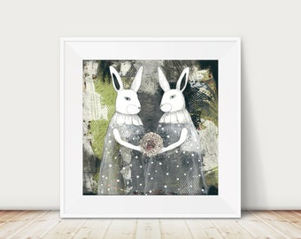 Printable Rabbit Wall Art - Woodland Animals , DIY Modern Art , Grey and Green Art Print , Printable Artwork , Living Room Wall Art