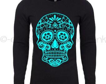Sugar Skull Thermal Long Sleeve  Shirt - Sugar Skull Shirt - Day of the Dead Apparel - Skull Shirt - Skull Top - Day of the Dead Top