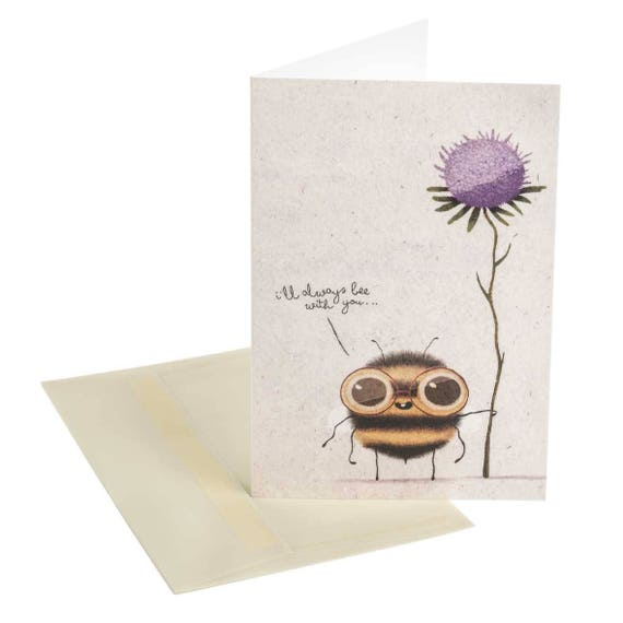 THE LOVING BEE. Cute love card. The loving bee. I will always be with you. Inspirational. Violet flower. For him. For her