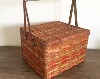 Picnic Basket; Japanese Split Cane Bamboo Picnic Basket; Vintage Picnic Basket; Bamboo Picnic Basket; Bamboo Basket; Woven Bamboo Basket