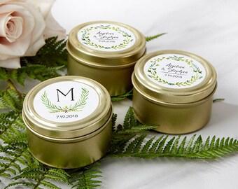 Personalized Gold Round Candy Tins - Mint Tin Favors - Wedding Favors - Botanical Wedding - Garden Wedding Favors (14111NA-BT)
