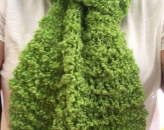 Hand Knit Green Long Scarf | Winter Wear | Handmade