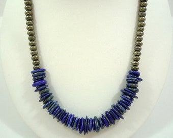 Lapis Necklace Lapis Gemstone Necklace Blue Lapis Pyrite Necklace Lapis Blue Necklace Pyrite Necklace Silver Lapis Strand Lapis Lazuli