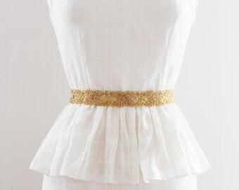 ALICE GOLD - Beaded Bridal Sash in Gold, Wedding Belt, Gold Bridal Sash