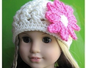 Pattern in PDF -- crocheted doll daisy flapper beanie hat for American Girl, Gotz or similar 18 inches dolls (Doll Hat 2)