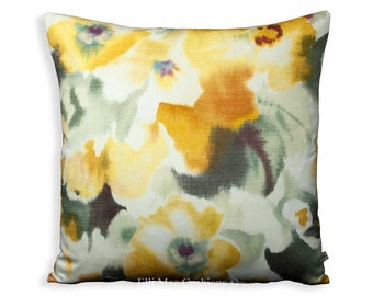 "Sanderson ""Varese"" Vintage Retro Floral Yellow Sofa Cushion Pillow Cover"