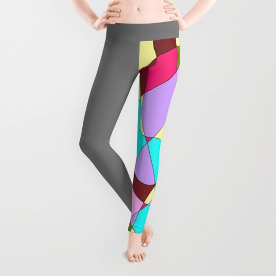 Grey Multicolored Abstract Leggings, Abstract Yoga Pants, Unique Fashion, Colorful Yoga Leggings, Women, Active Wear, Running Pants, Jogging