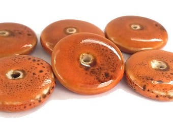 5 discs/donuts ceramic orange brick diameter 22mm (pc113)