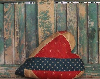 Heart Pillow, Antique Quilt, Rustic Farmhouse Decor, Primitive Heart, Americana Valentine, Zakka Style, Red White Blues - READY TO SHIP!