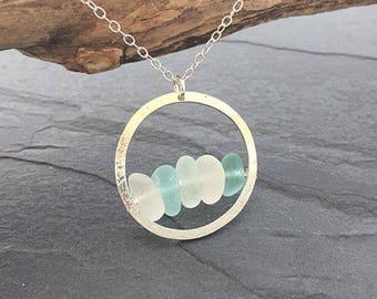 Aqua Sea Glass Hammered Circle Pendant
