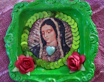 mixed media,religious image, santos, lady of guadalupe