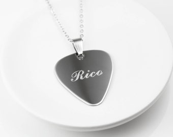 Engraved Guitar Pick - Guitar Pick Necklace - Musician Gifts - Personalized Guitar Pick -  Personalized Necklace For Men - Stainless Steel