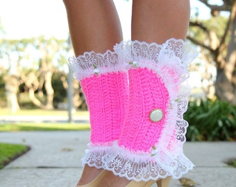 Victorian Style Leg Warmers - Crochet and Lace Spats in Hot Pink - Kawaii Fashion Accessories - Lots of Colors