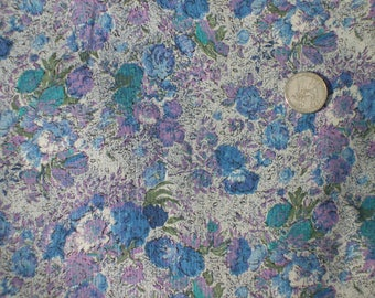 Vintage gray, blue, turquoise cotton fabric