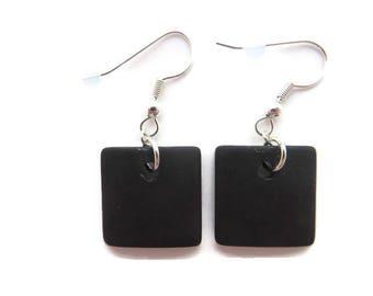 Black Sea Glass Earrings, Black Beach Glass Earrings, Recycled Glass Beads, Dressy Black Earrings, Black Dangles, Square Black Earrings