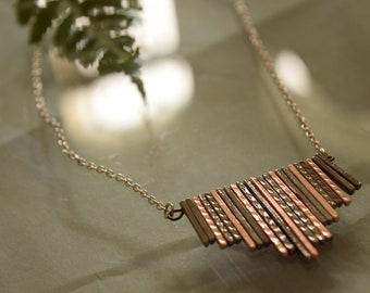 "Mixed Metals Modern Bar Necklace - Sleek Pendant Necklace 18"""