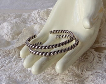 Vintage Sterling Braided Cuff Bracelets Unisex Twisted Rope 1970s FREE SHIPPING US