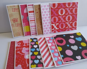 Mini notecards, Valentine Notecards, Mini notes, Mini Note cards, Thank you notes, Valentine cards, Blank note cards, Set of 12